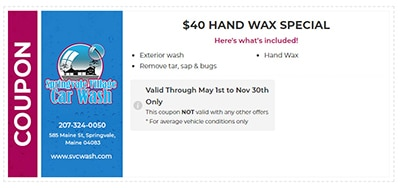 $40 Hand Wax Special